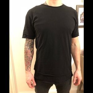 Long line Urban Outfitters black tee (layered)